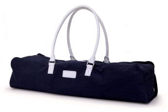 Rich navy-blue linen with white synthetic-leather trim