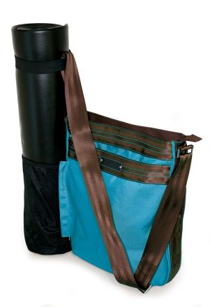 Yoga / Pilates 'Mat Sleeve' Messenger (Blue / Brown)