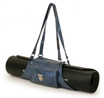 Yoga / Pilates Mat Sling (Blue, Faux-Croc)