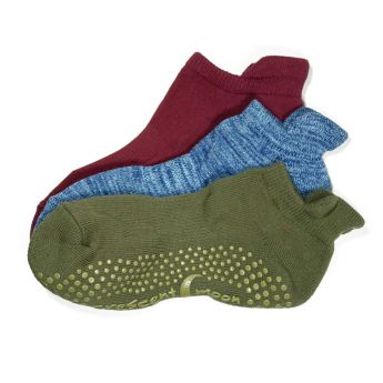 New Colors ExerSocks Barre, Yoga, and Pilates Socks Dark Olive, Blue Heather, Raspberry