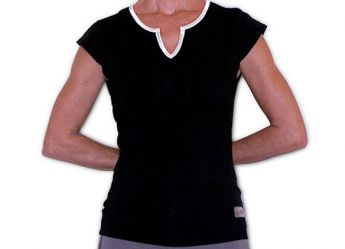 "Santorini Women's ""Cap Sleeve"" Tank Top (Black / White)"