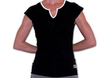 Santorini Women's Cap Sleeve Tank Top (Black / White)