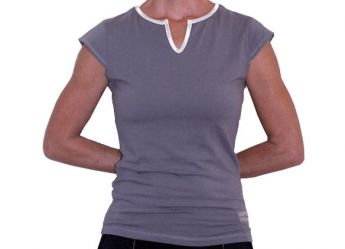 Santorini Women's Cap Sleeve Tank Top (Gray / White)