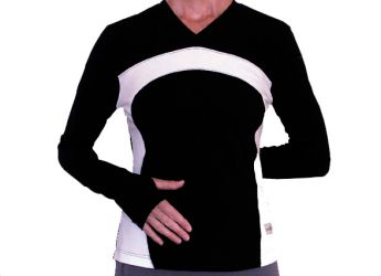 TractionCuff Women's Yoga / Pilates Knit Top (Black / White)