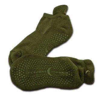 CRESCENT MOON ExerSocks, Non-Slip Grip Socks (3-Pack) Small, Dark Olive