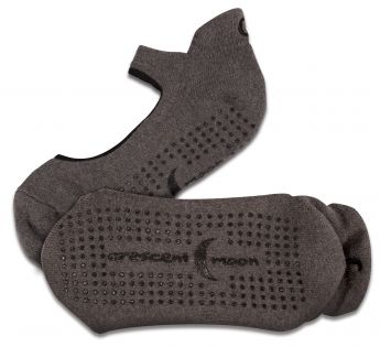 Crescent Moon Yoga Ballet-Style ExerSocks™ - Barre, Yoga & Pilates Socks (Charcoal/Black)