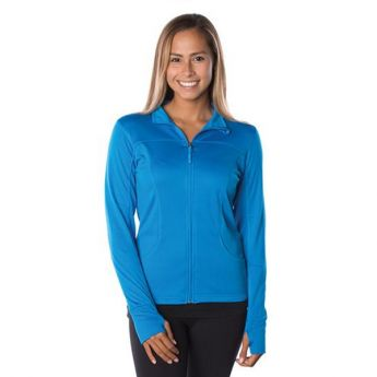 Crescent Moon Active-Tech Full-Zip Jacket - Cyan Blue