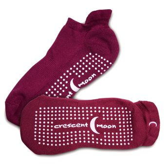 Crescent Moon Yoga ExerSocks™ - Barre, Yoga & Pilates Socks (Wine/Pink)