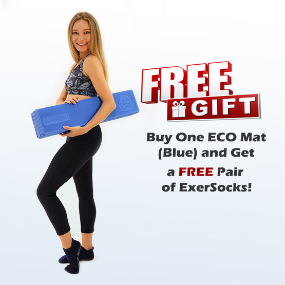 Free Gift - Buy One ECO Mat (Blue) and Get a Free Pair of ExerSocks - Shop Now