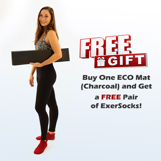 Free Gift - Buy One ECO Mat (Charcoal) and Get a Free Pair of ExerSocks - Shop Now