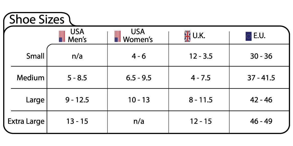 ExerSocks Size Chart